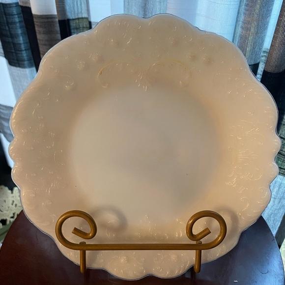 Vintage milk glass plate scalloped edge